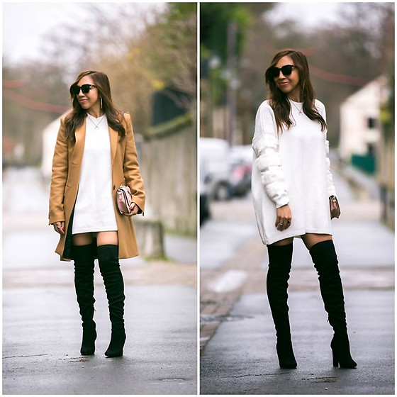 "Holy Rakoto - Mango Over The Knee Boots - "" Manteau camel et robe pull en maille! """