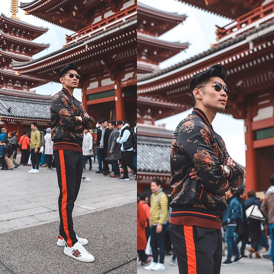Leo Chan - Sensoji Temple | Tokyo, Japan Outfit, Gucci Sneakers, Movado Watch, Zara Printed Bomber Jacket, Zara Side Stripe Pants, Prada Teddy Sunglasses - Black and Red Tokyo Style
