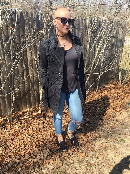 Ashlee Fairy Face - Five Below Oversized Sunglasses, Iz Byer Jacket, Old Navy Shiny Shirt, Old Navy Jeans, Toms - New Day, New Sunglasses