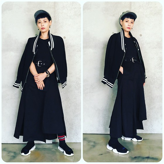 Joyce Chang - 3.1 Phillip Lim Black Dress, Limi Feu Baseball Jacket, Vetements Trainers - Black women