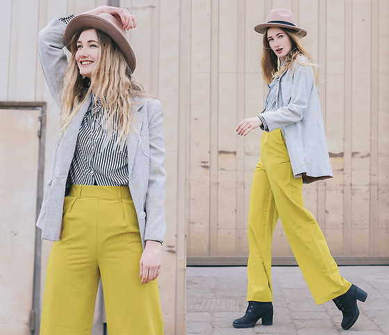 Eva Velt - Secondhand Jacket, Secondhand Blouse, Asos Pants, Pieces Hat - The world is a yellow submarine