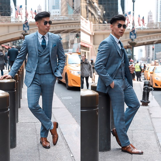 Leo Chan - Tallia Orange Three Piece Windowpane Suit, Tallia Orange Double Monk Strap Shoes, Ray Ban Ray Ban Sunglasses, Levitate Style Spring Upgrade With Tallia Orange - Three Piece Windowpane Suit for Spring