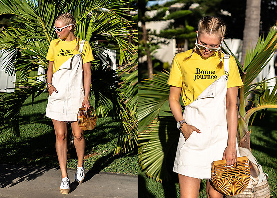 Sunnyinga - Cult Gaia Bag, Pull & Bear Dress, &Other Stories Shirt, Asos Sunglasses, Superga Sneakerdrilles - White Dress x Cult Gaia Bag