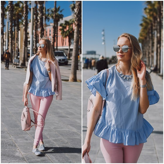 Madara L - Boohoo Faux Leather Jacket, Zara Pink Skinny Jeans, Stradivarius Pink Backpack - The beautiful Barceloneta beach