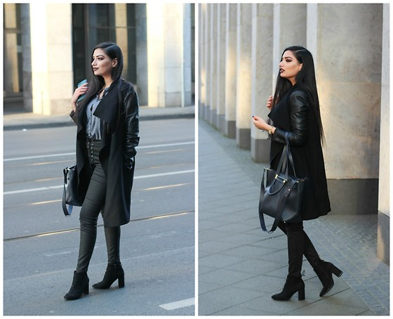 Gilda - Zara Black Coat, Asos Blouse, Forever21 Wigh Waist Jeans, Bull & Bear Chelsea Boots - Spring and dark fashionable Outfits