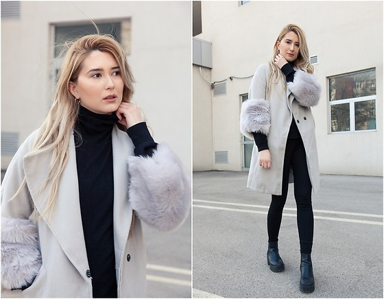 Sofija Surdilovic - Fashion Mia Gray Fur Sleeves Coat, H&M Black Chunky Ankle Boots - Cloudy and cuddly