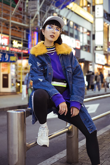 Samantha Mariko - American Needle Hat, Bershka Jacket, Zara Sweater, Adidas Leggings, New Balance Sneakers, Zerouv Glasses - 90s baby