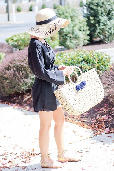 Kim Tuttle - Loeffler Randall Sandal, Hat Attack Ny Straw Bag, Lucca Couture Romper, J. Crew Straw Hat - It's straw about the details