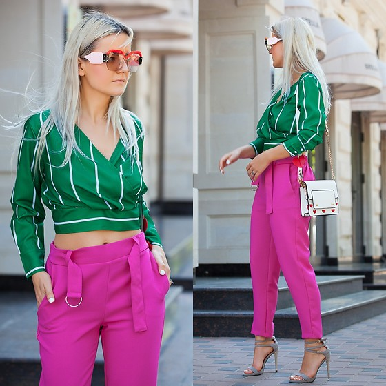 Cristina Tabun - Zaful Blouse, Zaful Sunglasses, Kiabi Pants - Green Love  Pink