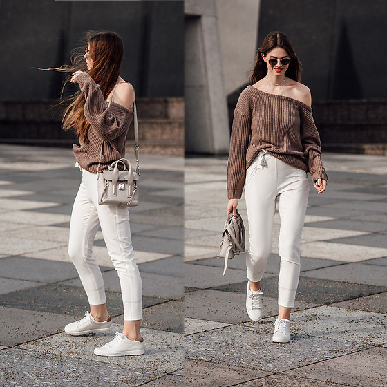 Jacky - 3.1 Phillip Lim Bag, Missguided Sweater, Ray Ban Sunglasses -  Spring Outfit: white pants and one shoulder sweater