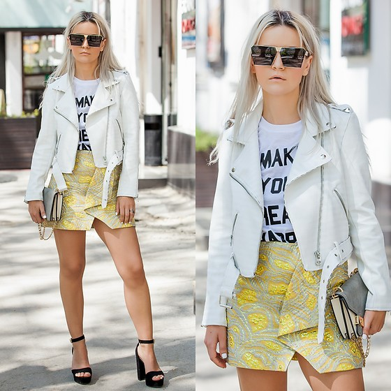 Cristina Tabun - Rosegal Jacket, H&M Skirt, Zaful Sunglasses - White Lether Jacket