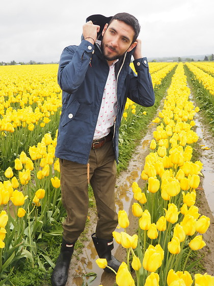 Hector Diaz - Penfield Raincoat, Sharply Pink Flamingos Button Down, J. Crew Olive Green Joggers, Hunter Rainboots - Pink Flamingos and Tulip Fields