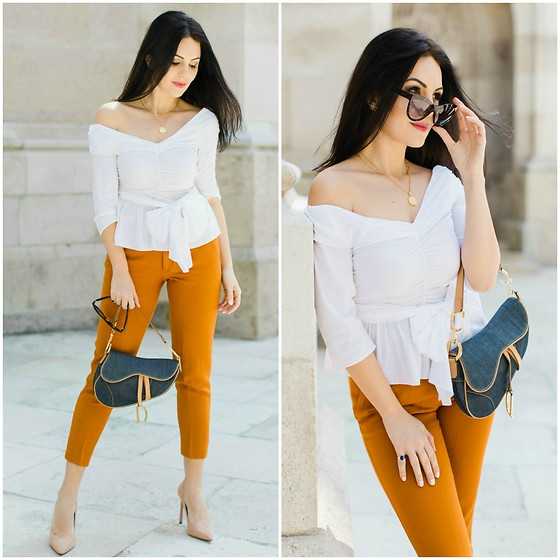 Edisa Shahini - Christian Dior Bag, Balenciaga Sunnies, Zara Top, Mango Pants - THE DIOR SADDLE BAG IS BACK
