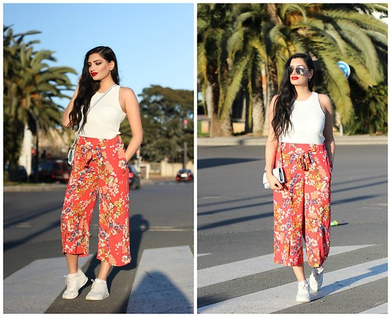 Gilda - Mango White Top, Zara Red Flower Pants, Footlocker White Air Max Thea, Forever21 Sunglasses - Summery Flower Pants and White Nike Air Max in Valencia