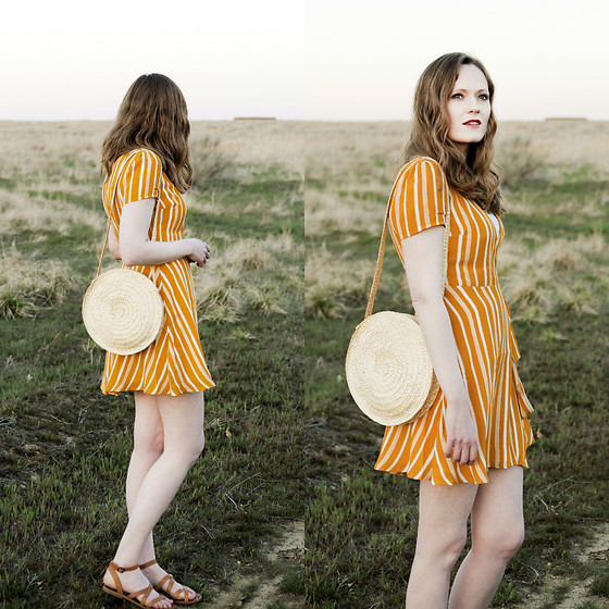 Emily S. - Forever 21 Wrap Dress, Lucky Brand Sandals, Alba Baskets Circle Bag - Mustard Wrap Dress & Circle Bag