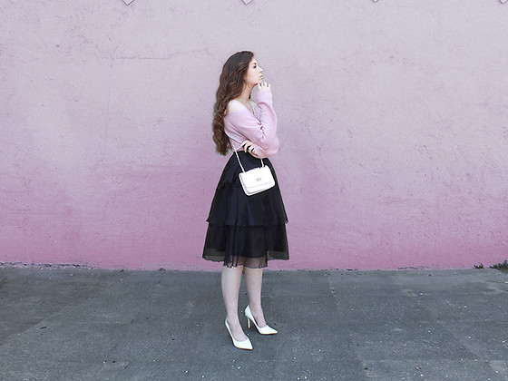 OH ANNE (BLOGGER) -  - PINK KNIT SWEATER, VOLANT SKIRT & WHITE HIGH HEELS