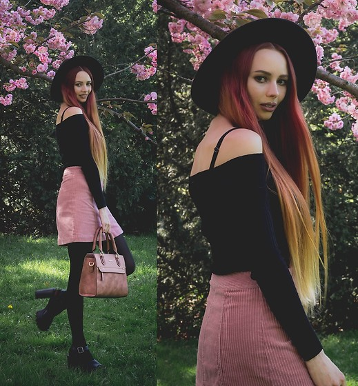 Liza LaBoheme - Kadell Rose Brown Purse, H&M Pink Cord Skirt, Subdued Cold Shoulder Sweater - Full Bloom