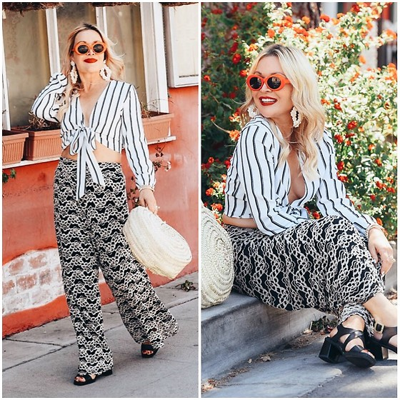 Zia Domic - Missguided Striped Top, Baciano Lace Pants, Pikolinos Block Heels Sandals - Mixed Prints