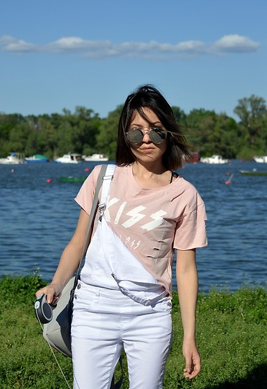 Marija M. - Shein Pink Crop Top, New Yorker White Dungarees - Kiss my a$$