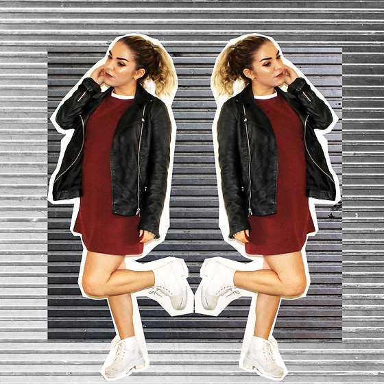 SV - Forever 21 Faux Leather Jacket, Maroon Tshirt Dress - Corrugated Steel