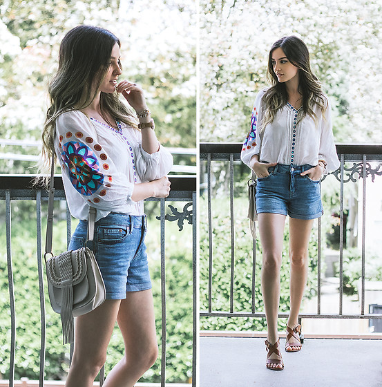 Kassy D - Solitaire Embroidered Blouse, Hayden Harnett Fringe Bag, H&M Relaxed Fit Denim Shorts, Urban Outfitters Sandals - You're The Poet In My Heart