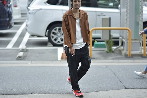 Hideki. Mn - Roundabout L/S Open Coller Wide Shirt, Roundabout Cotton Tank Top, Bukht Pin Tuck Easy Pants Crazy, Nike Air Rift - Japanese fashion 73