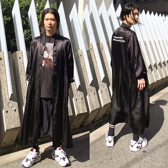 @KiD - Comme Des Garçons Satin Jacket, New Order Peter Saville, Ch. Skirt Pants, Mizuno Wave Rider 1 Og - JapaneseTrash387