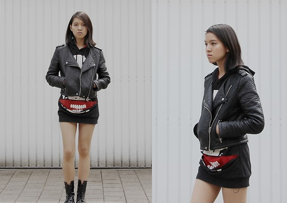 Tram Anh - H&M Fake Leather Jacket, Apm, Seoul Skull Hoodie, Mango Patent Boots - Better to burn out than fade away