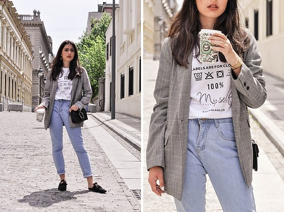 Jelena Dimić - River Island Ditch The Label Charity T Shirt, Pull & Bear Oversized Plaid Blazer, Shein High Waist Bleached Jeans, Aliexpress Black Bag, Fashion71 Black Slippers, Gifts For A Designer Ring - I'm tired of being what you want me to be
