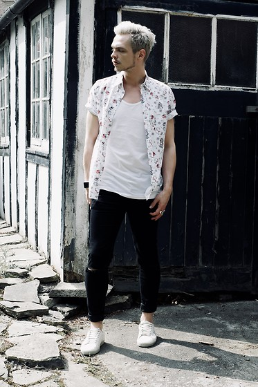 Bradley A - Topman Short Sleeve, Cheap Monday Ripped, Saint Laurent Grafitti, Allsaints White - SPRING CASUAL