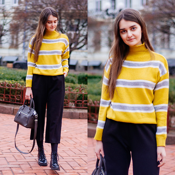 Christina & Karina Vartanovy - Gamiss Yellow Turtleneck Striped Sweater, Shein Black Elastic Waist Culotte Pants, Mango Little Tote Bag, Bershka Black Lace Up Ankle Boots - Karina // always summer