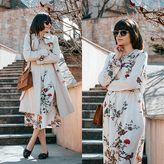 Christina & Karina Vartanovy - Burberry Beige Trench Coat, Rosegal Brown Sequined Small Shoulder Bag, Zaful Floral Print Lace Up Midi Dress, Asos Loafer Flat Shoes - Kristina // wishing well