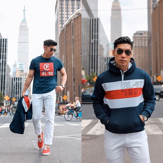 Leo Chan - Summer Style: Polo Ralph Lauren, Polo Ralph Lauren Cp Rl 93 Classic Fit T Shirt, Polo Ralph Lauren Cp Rl 93 Double Knit Hoodie, Polo Ralph Lauren Cp Rl 93 Canvas Low Top Sneaker - Nautical Summer Style - Polo Ralph Lauren