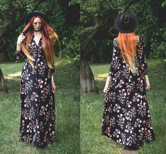 Liza LaBoheme - Mango Floral Maxi Dress, H&M Large Sunglasses - A May Night's Memory