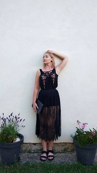 Petra - Stradivarius Embroidered Laceup Top, Forever 21 Lace Midi Skirt With Shorts - Floralace.