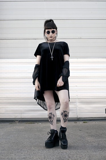 Amy Souter - Thrifted Velvet Smock Dress, Thrifted Oversized Shirt, Essex Flatform Trainers, Ebay Cross Necklace - Goth Spice