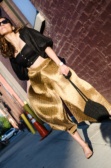 Christina N -  - Vintage Gold Palazzo Pants with Clear Sandals