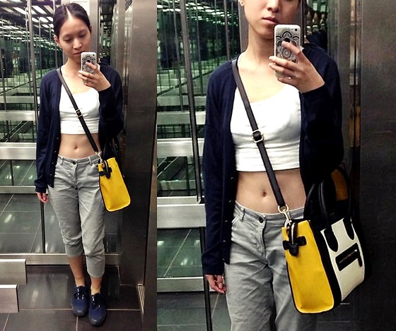 Tram Anh - A.P.C. Cardigan, New Yorker Crop Top, Esprit Capri Jeans, Céline Luggage Bag, Vans All Blue Authentic - Mirror, mirror, off the wall