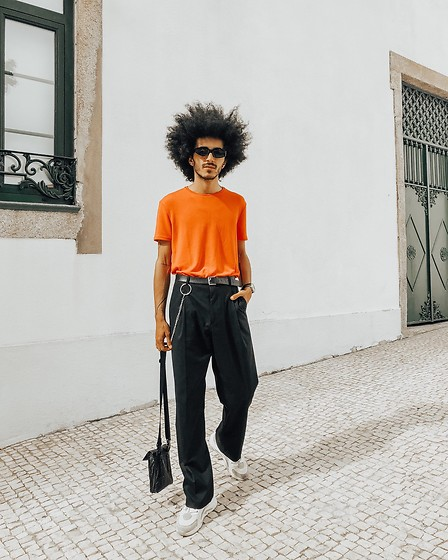 Marco Moura - Zara Pants, Zara T Shirt, Zara Sneakers, Zara Bag - Orange passion