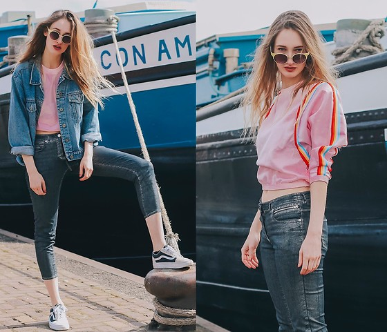 Eva Velt - Levis Jacket, River Island Sunnies, Secondhand Sweater, Vanz Sneakers - Con Amore