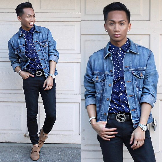 Paul Zedrich - Levi's® Jean Jacket, H&M Polka Dot Button Up, Gucci Belt, H&M Skinny Jeans, Hermès Clic Clac Bracelet, Asos Suede Nude Brogues - Playinwithme.mp3 💋