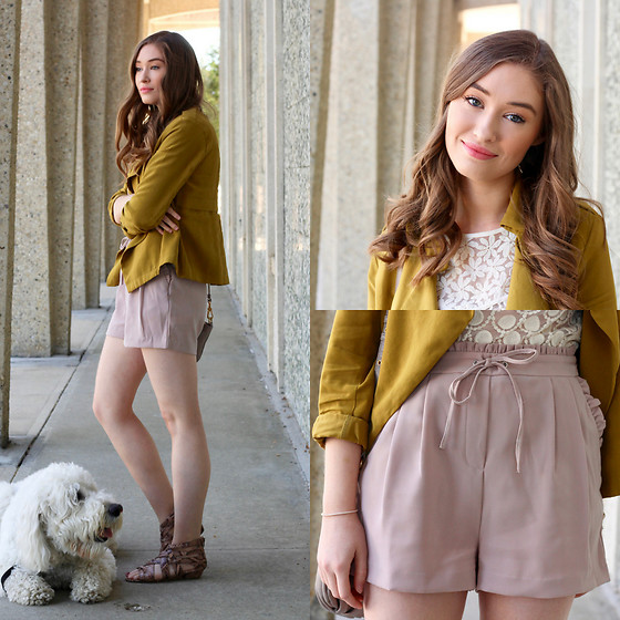 Taylor Doucette - Zara Cropped Trench, Nordstrom Lace Tank, Dex Silk Shorts - Raw Honey - Family of the Year