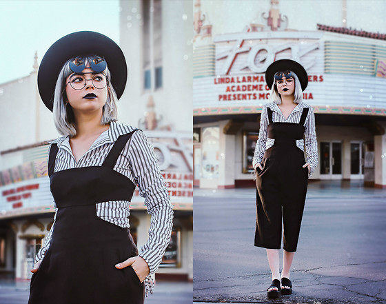 KENDALL SANCHÈZ - Black Round Hat, Flip Up Sunglasses (Similar), Vintage Striped Blouse, Tobi Black Pant Romper, Jcpenney Black Platform Slides (Only $20!!! Super Comfy!!!) - Happy Pride Month!