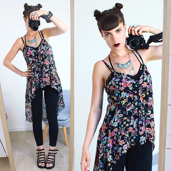 ♡Nelly Kitty♡ - Bershka Asymmetrical Floral Top - OOTD#39