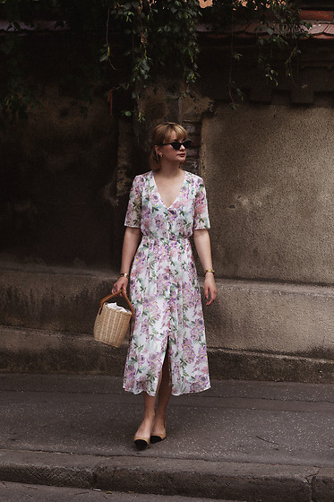 Ana Vukosavljevic - H&M Dress, Buji Baja Basket Bag, Shoes Of Prey, Gucci Sunglasses - Basket Bags Aren't Just For The Beach
