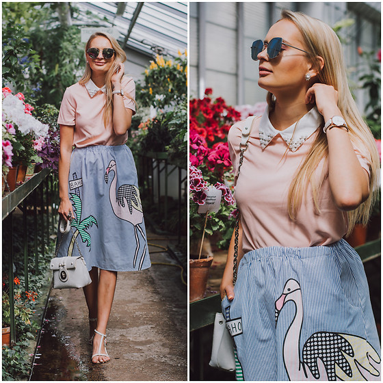 Madara L - Shein Feminine Top, Ebay Flamingo Print Skirt - Summer style in botanical garden