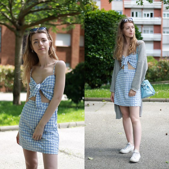Alba Granda - Zaful Vichy Dress, Rosegal Grey Cardigan, Converse White, Rosewholesale Blue Bag - Vichy