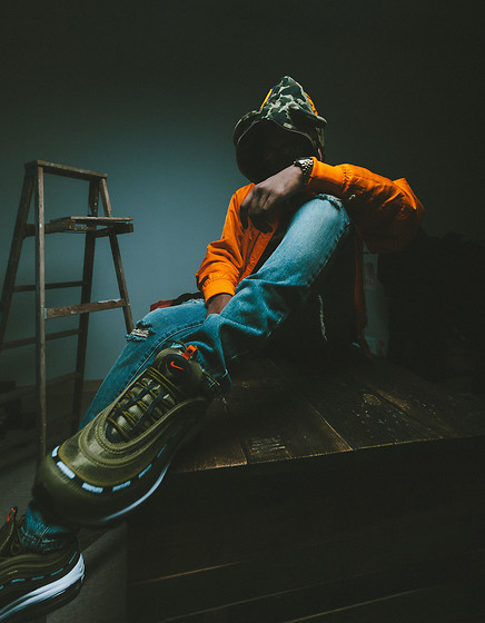 Kris Hilton - Bape Camo Hoodie, Saint Laurent Ripped Jeans, Fear Of God Bomber Jacket, Undefeated X Nike Air Max Sneakers - Shine Bright In The Dark