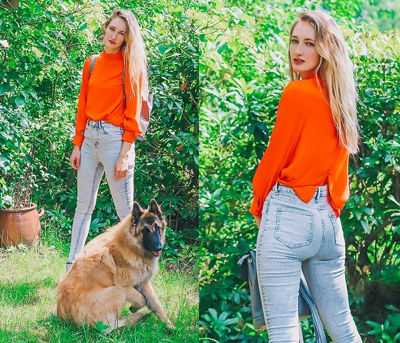 Eva Velt - Asos Orange Shirt, Waven Jeans - Pre-summer dog party