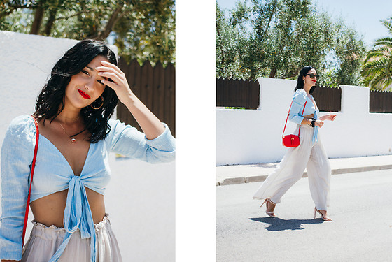 Maray - Zaful Crop Top, Pull & Bear Mini Bag, Alex Silva Sandals - Azul Celeste